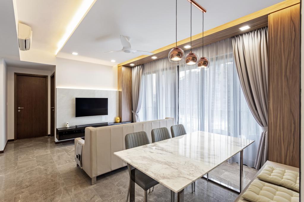 Modern, HDB, Living Room, Edgedale Plains, Interior Designer, D Initial Concept