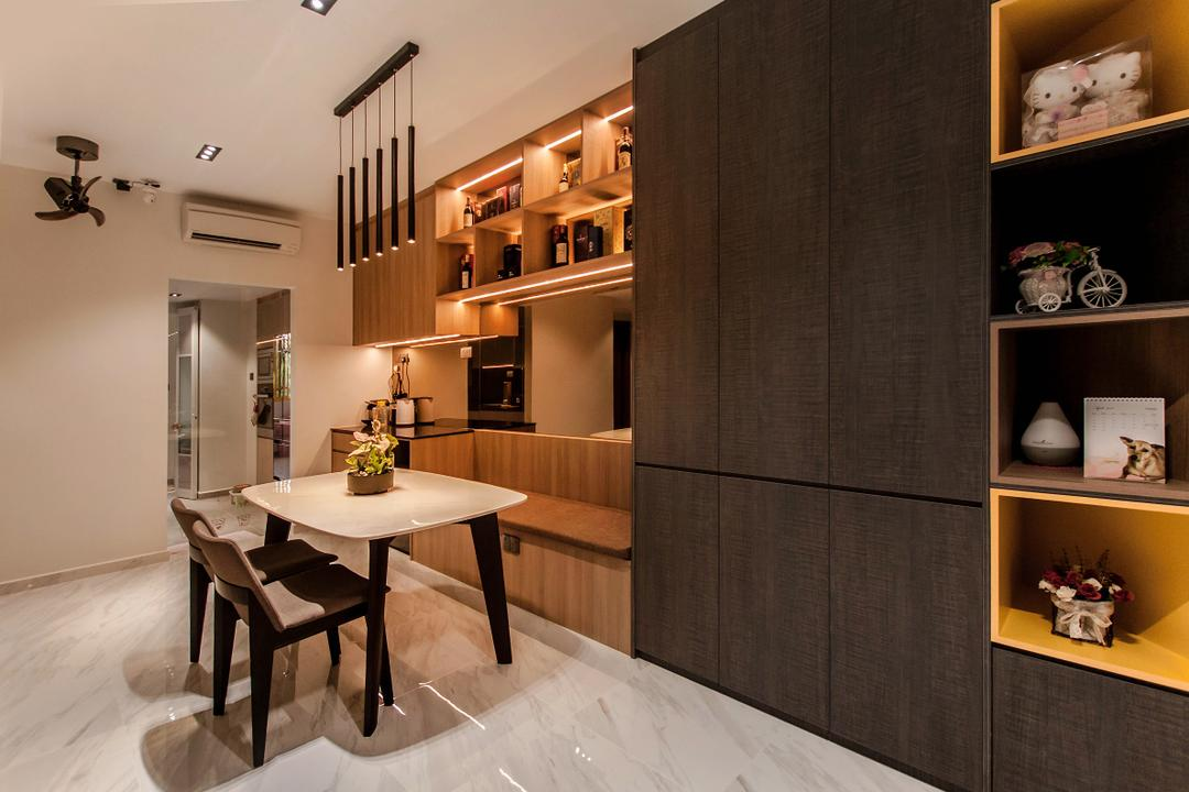 Villa Marina, Space Atelier, Modern, Dining Room, Condo, Settee, Bench