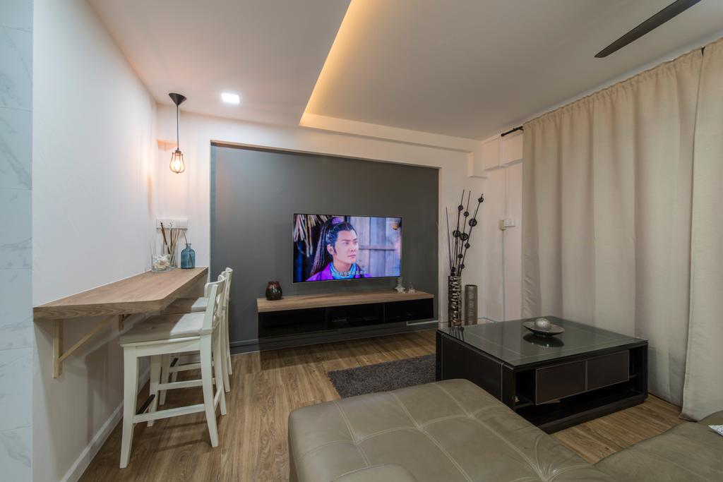 Modern, HDB, Living Room, Simei Street 1, Interior Designer, Couple Abode