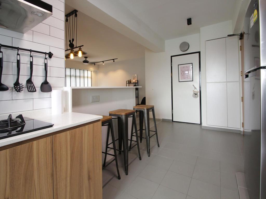 Contemporary, HDB, Compassvale Bow, Interior Designer, Couple Abode, Industrial