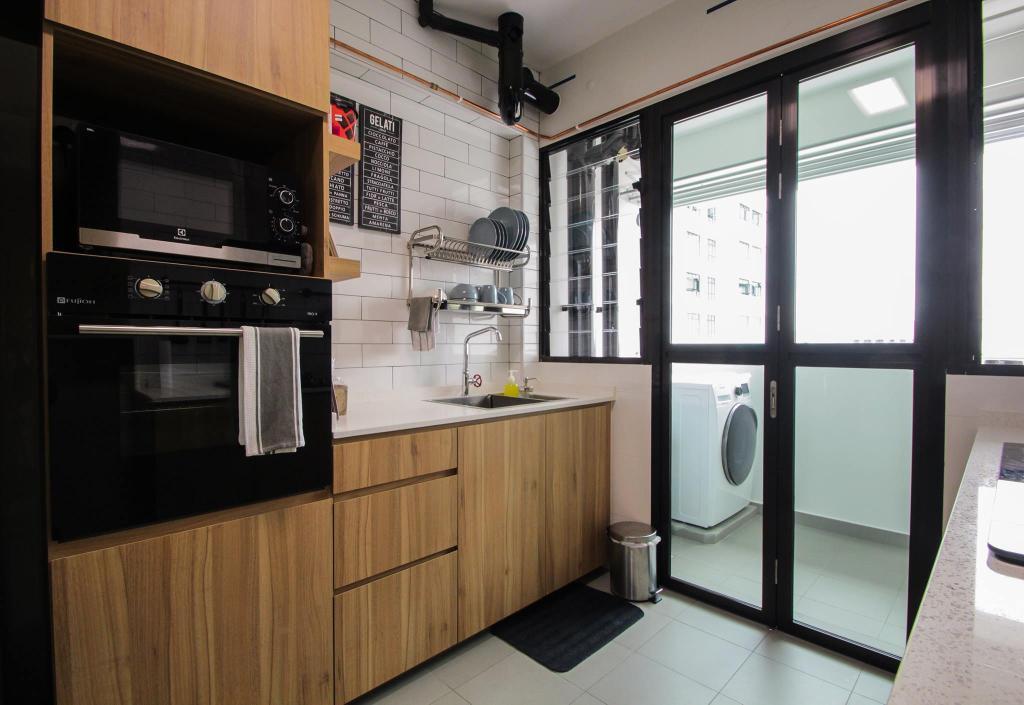 Contemporary, HDB, Kitchen, Compassvale Bow, Interior Designer, Couple Abode, Industrial
