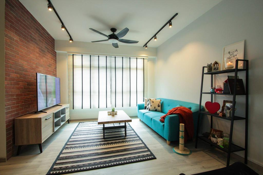Contemporary, HDB, Living Room, Compassvale Bow, Interior Designer, Couple Abode, Industrial