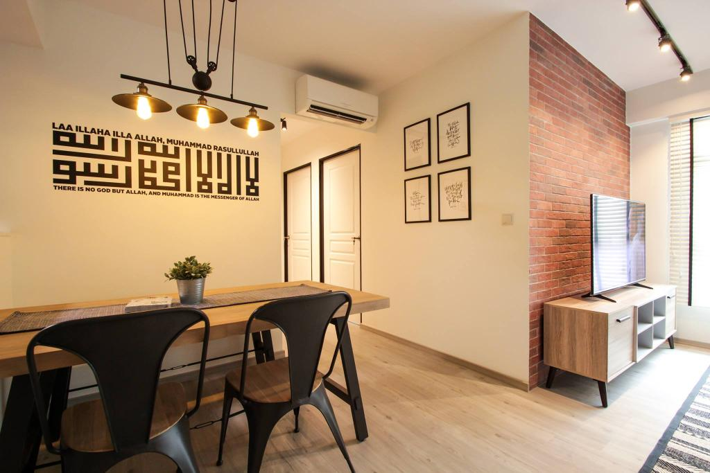 Contemporary, HDB, Dining Room, Compassvale Bow, Interior Designer, Couple Abode, Industrial