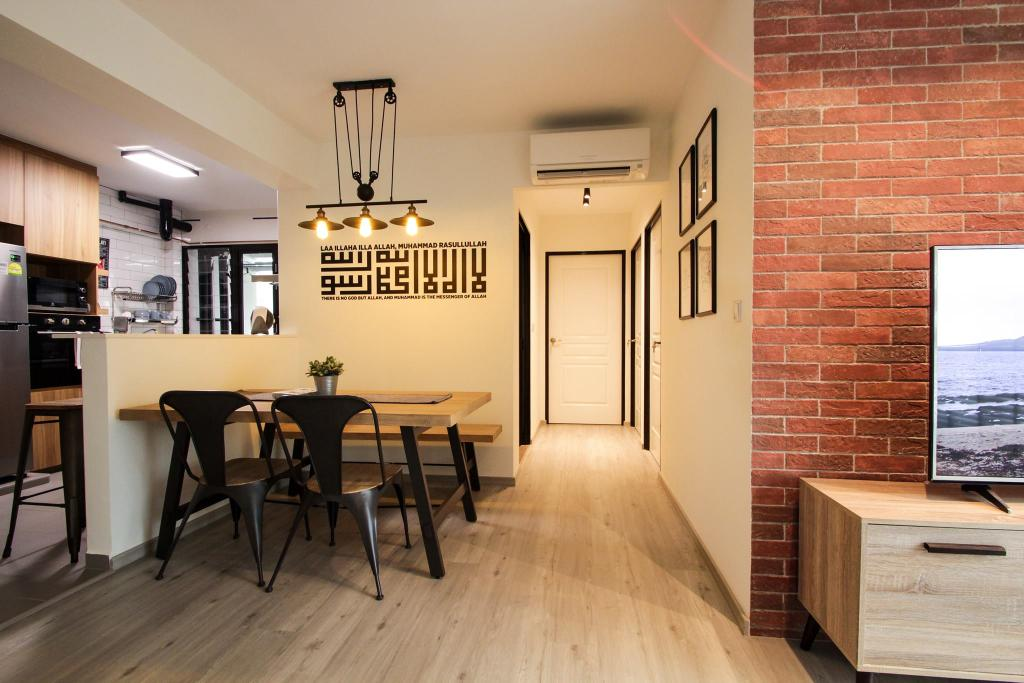 Contemporary, HDB, Compassvale Bow, Interior Designer, Couple Abode, Industrial