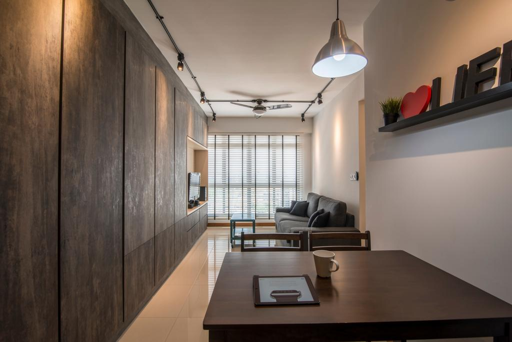 Contemporary, HDB, Living Room, Anchorvale Crescent, Interior Designer, Couple Abode
