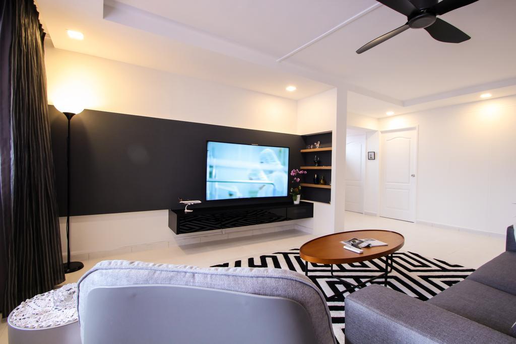 Contemporary, HDB, Living Room, Choa Chu Kang Avenue 4, Interior Designer, Couple Abode