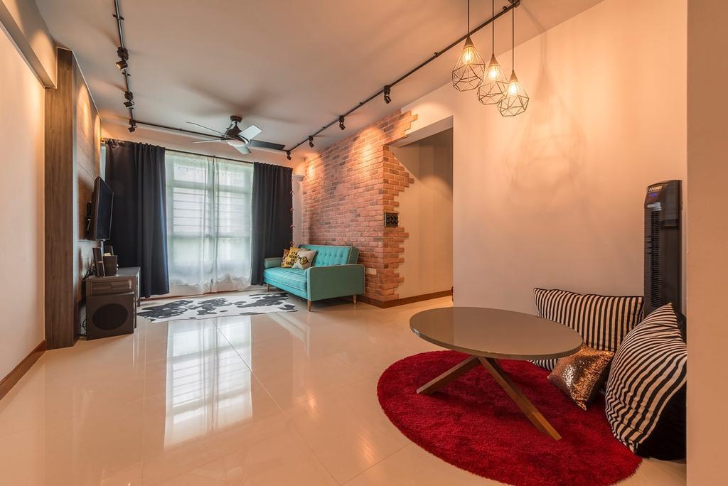 Industrial, HDB, Living Room, Edgefield Plains, Interior Designer, Couple Abode, Contemporary