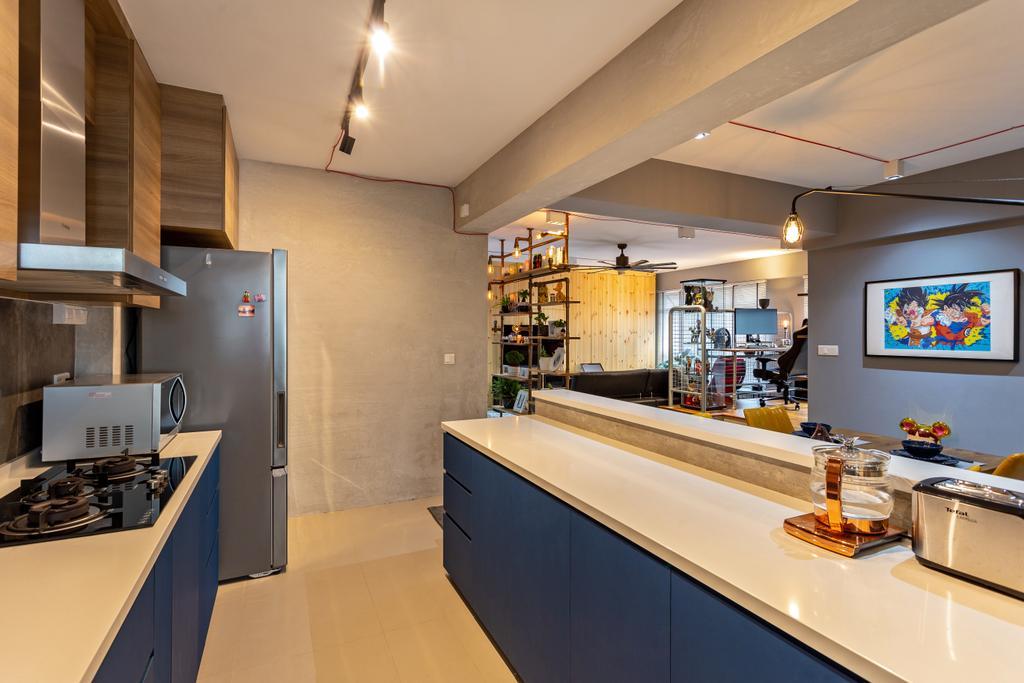 Industrial, HDB, Kitchen, Buangkok Crescent, Interior Designer, Posh Home, Modern