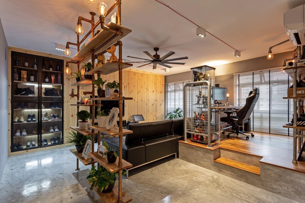 Industrial, HDB, Living Room, Buangkok Crescent, Interior Designer, Posh Home, Modern