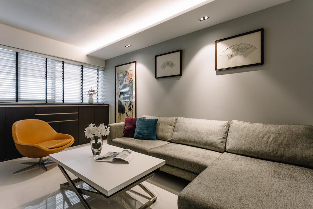 Contemporary, HDB, Living Room, Race Course Road, Interior Designer, Schemacraft, Modern