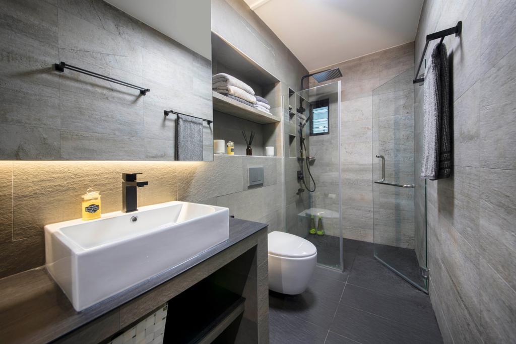 Contemporary, HDB, Bathroom, Elias Road, Interior Designer, Aart Boxx Interior, Modern
