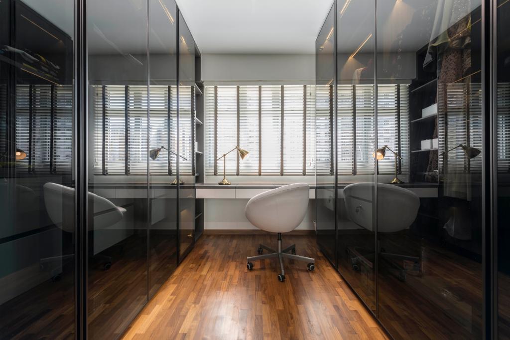 Modern, HDB, Bedroom, Canberra Street, Interior Designer, Design Story, Walk In Wardrobe, Wardrobe, Dresser, Dressing Room, Vanity