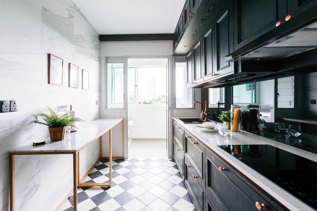 Contemporary, HDB, Kitchen, Telok Blangah Street 31, Interior Designer, The Scientist, Marble Slabs, Marble Surface