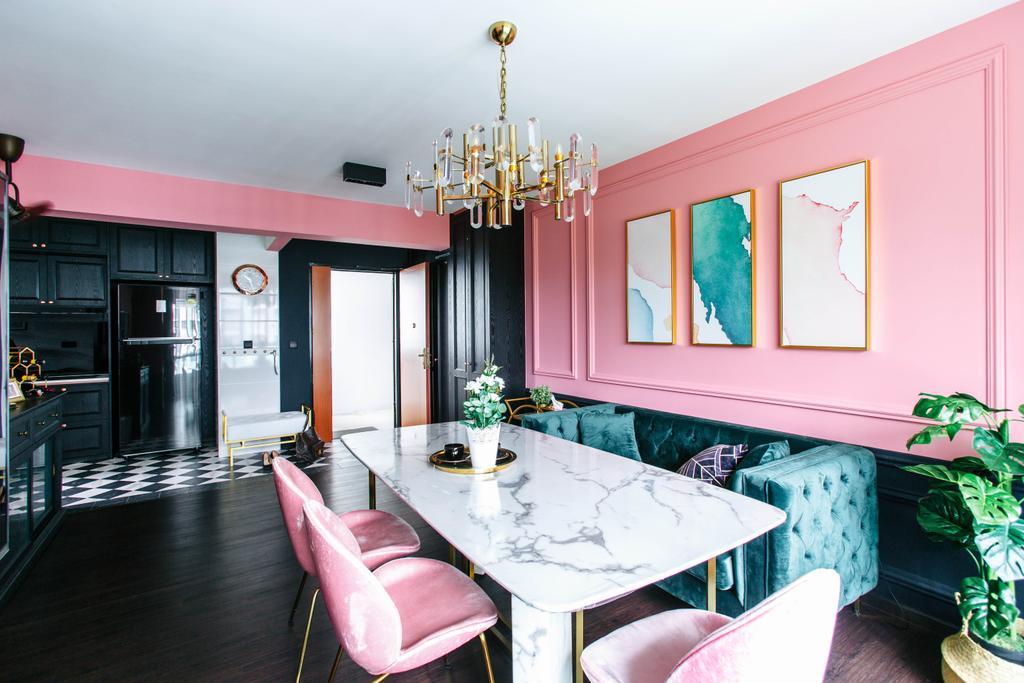 Contemporary, HDB, Dining Room, Telok Blangah Street 31, Interior Designer, The Scientist, Marble Table, Chandelier