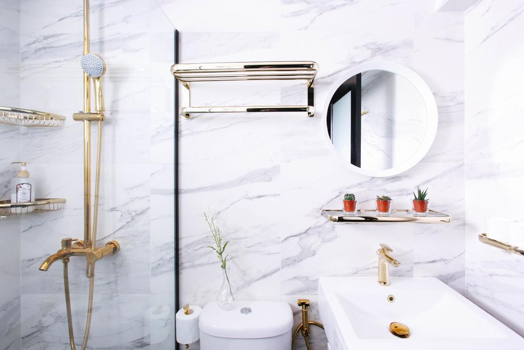 Contemporary, HDB, Bathroom, Telok Blangah Street 31, Interior Designer, The Scientist, Gold Accents, Gold, Modern Luxury, Marble Tiles, Marble