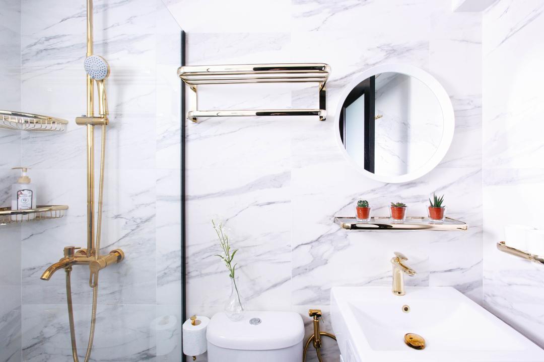 Telok Blangah Street 31, The Scientist, Contemporary, Bathroom, HDB, Gold Accents, Gold, Modern Luxury, Marble Tiles, Marble