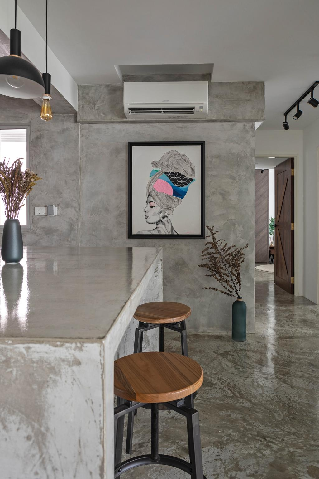 Industrial, HDB, Dining Room, Anchorvale Crescent, Interior Designer, Free Space Intent