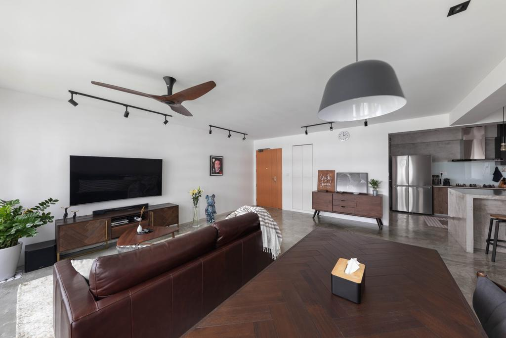 Industrial, HDB, Living Room, Anchorvale Crescent, Interior Designer, Free Space Intent