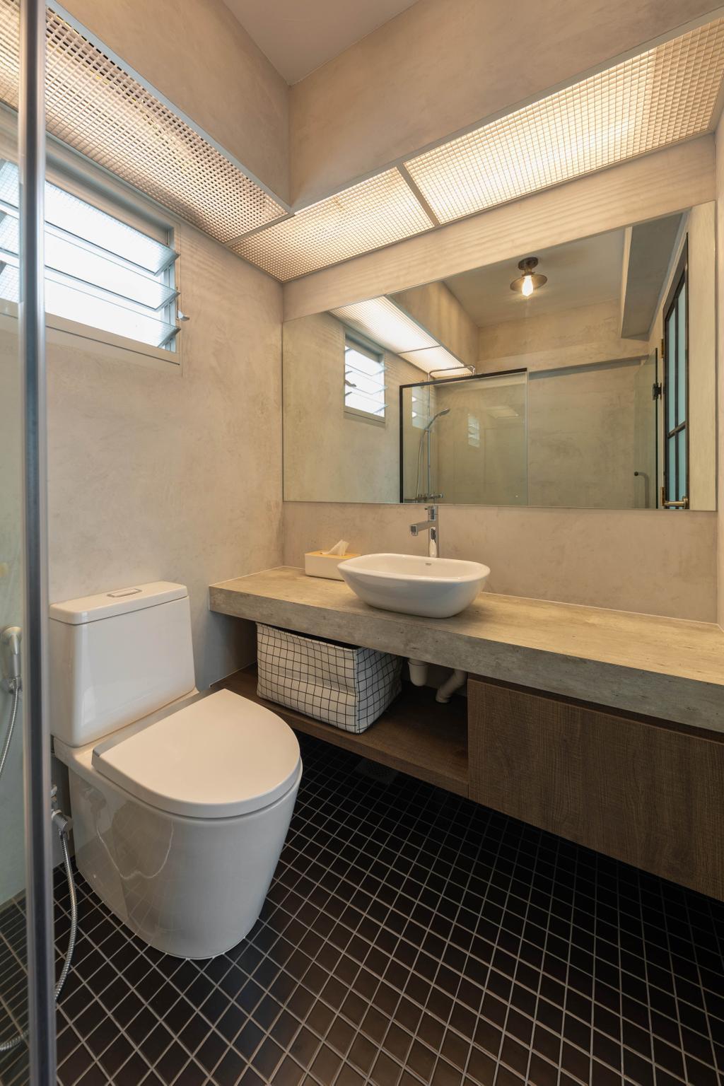 Industrial, HDB, Bathroom, Anchorvale Crescent, Interior Designer, Free Space Intent