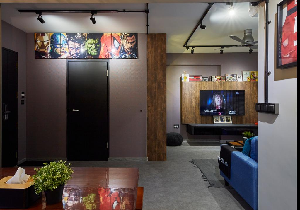 Eclectic, HDB, Living Room, Anchorvale Crescent, Interior Designer, i-Chapter