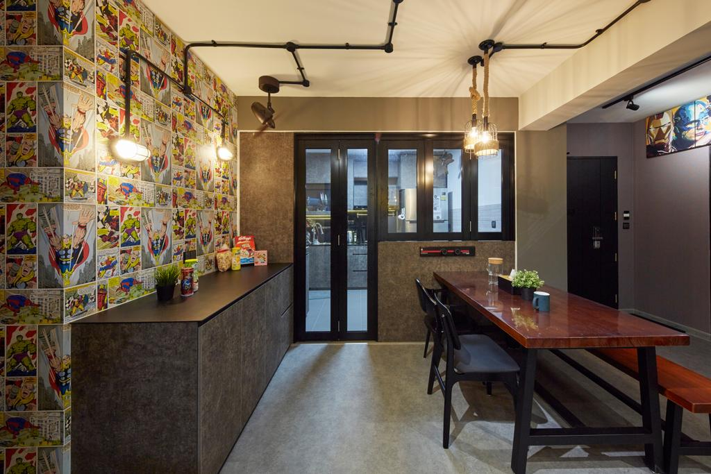 Eclectic, HDB, Dining Room, Anchorvale Crescent, Interior Designer, i-Chapter