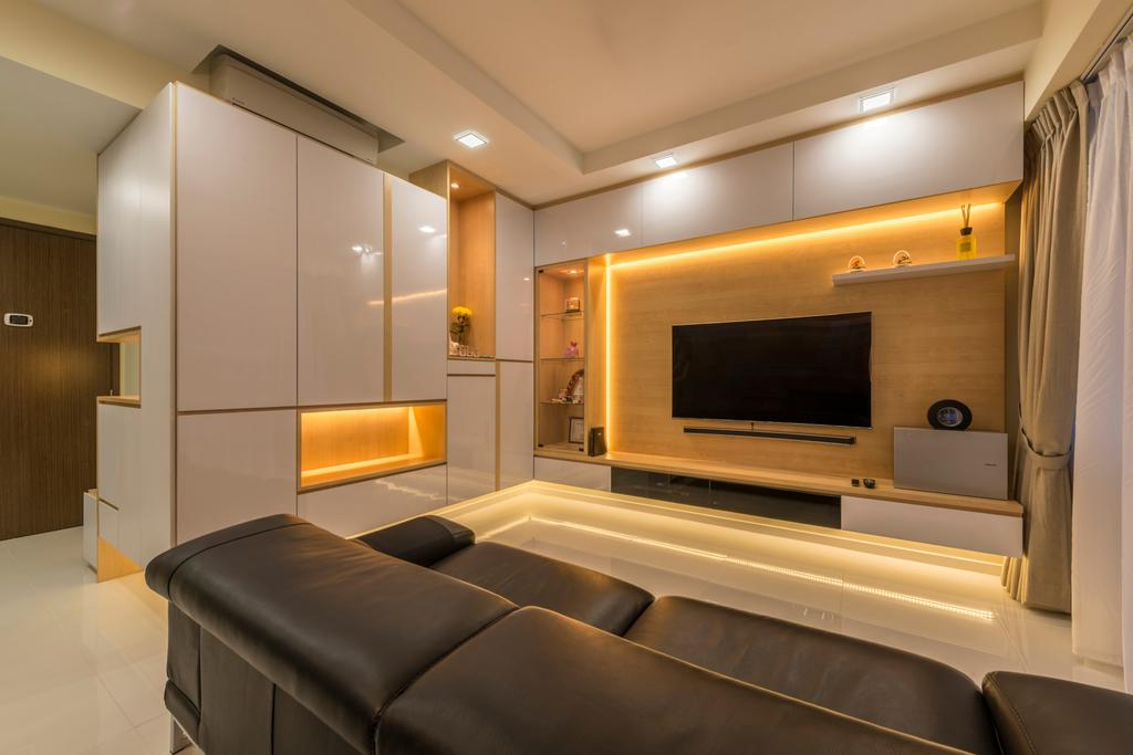 Contemporary, HDB, Living Room, Punggol Central, Interior Designer, NID Design Group