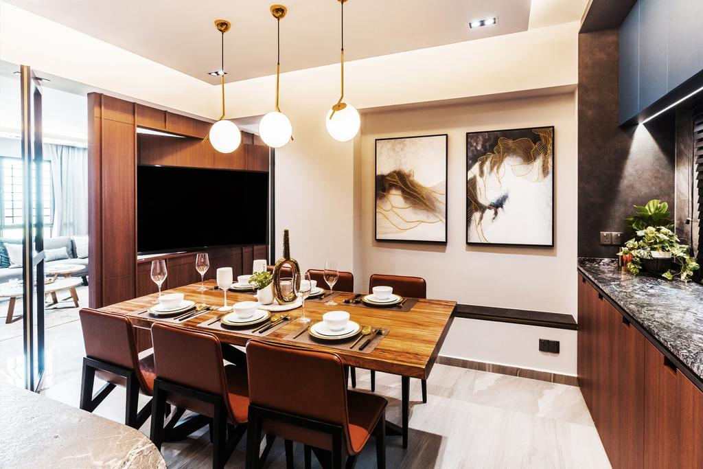 Contemporary, Condo, Dining Room, Pasir Ris Street 21, Interior Designer, Hall Interiors