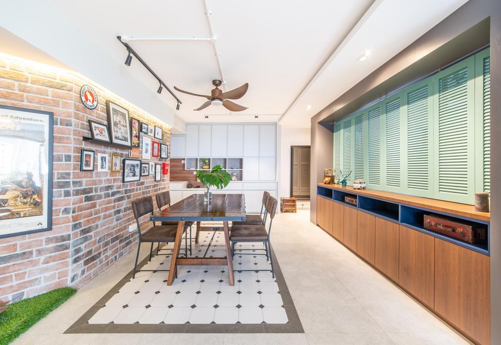 Eclectic, HDB, Dining Room, Toh Guan, Interior Designer, Hall Interiors