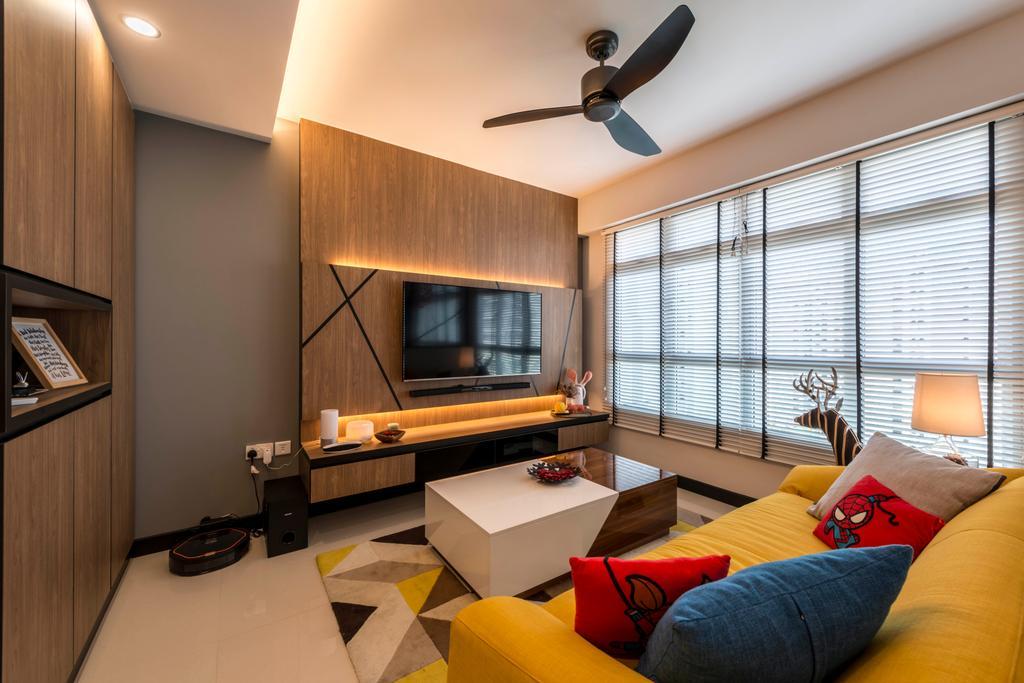 Contemporary, HDB, Living Room, Rivervale Crescent, Interior Designer, Control Space Design Studio