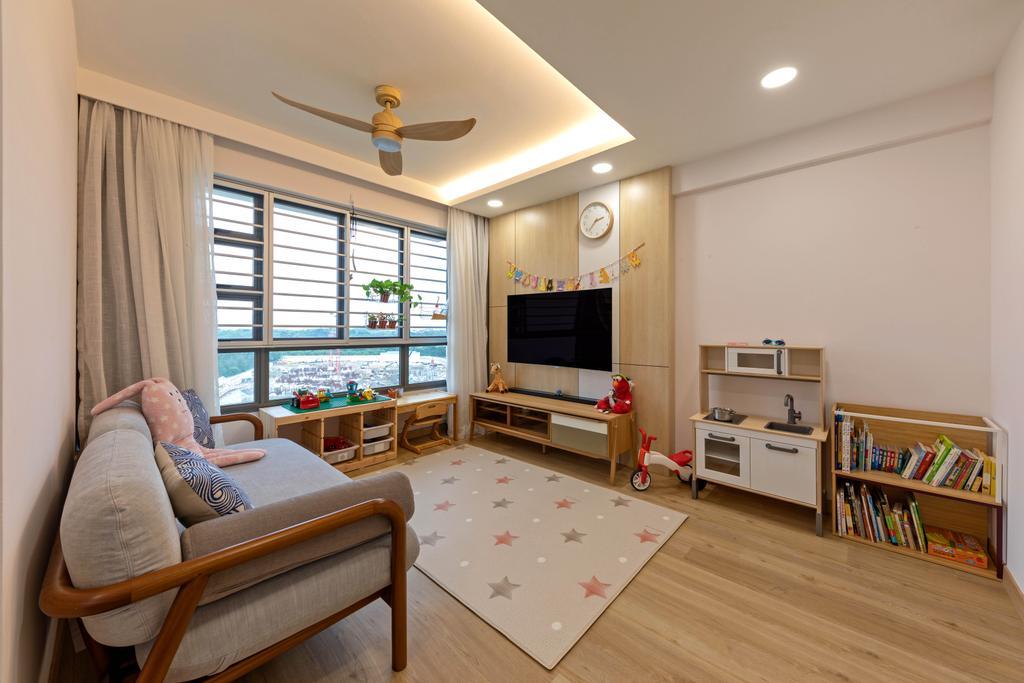 Minimalistic, HDB, Living Room, Punggol East, Interior Designer, Space Atelier