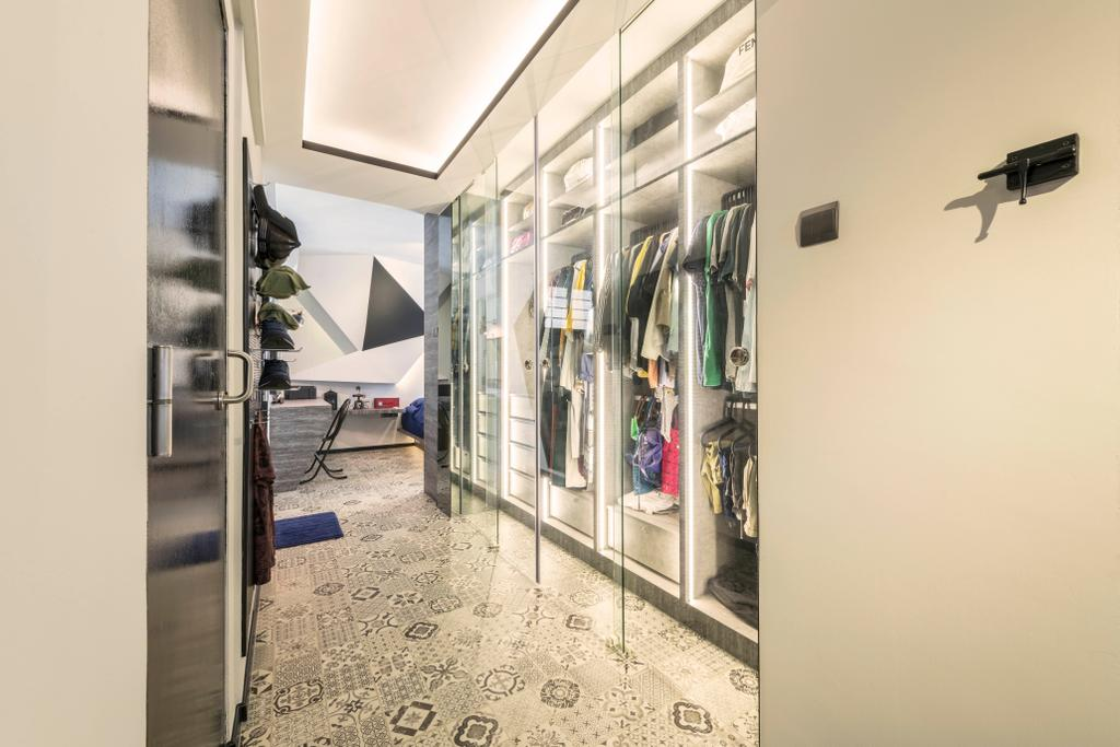 Eclectic, HDB, Bedroom, Woodlands Drive 75, Interior Designer, Chapter One Interior Design, Wardrobe, Walk In Wardrobe, Dressing Room