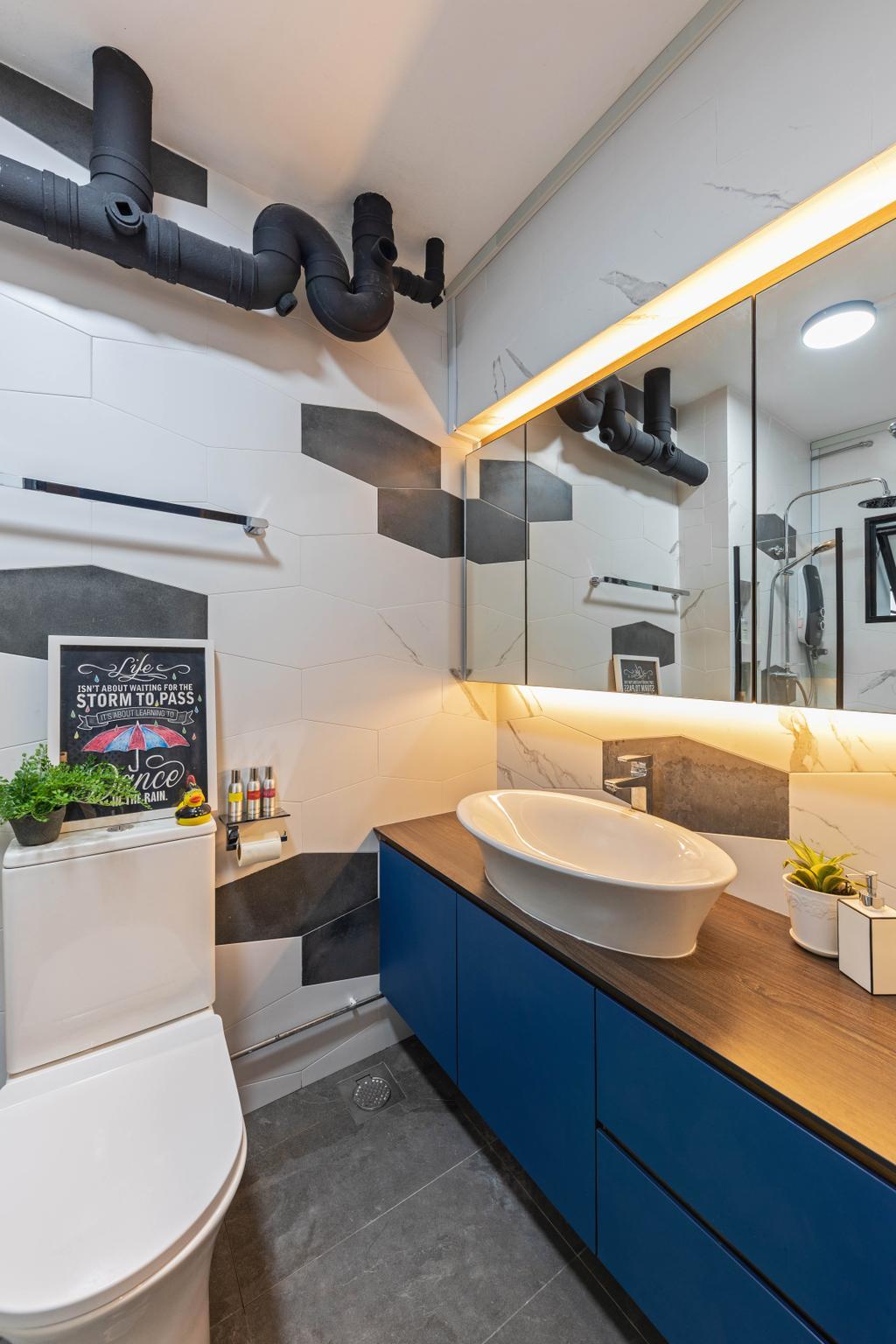 Contemporary, HDB, Bathroom, Compassvale Walk, Interior Designer, New Age Interior