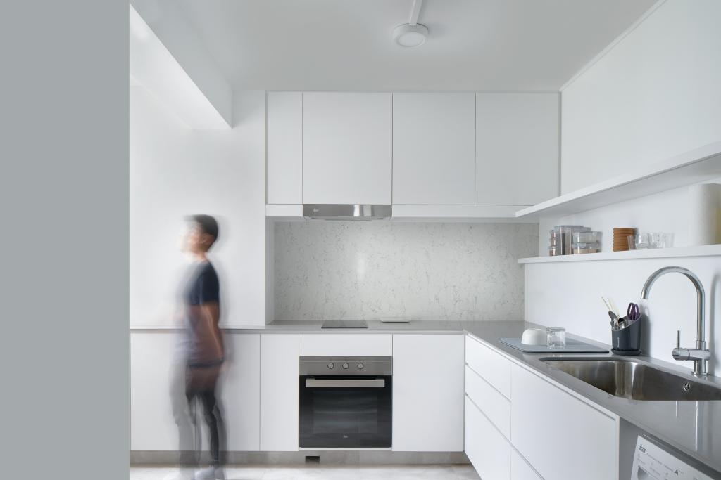 Modern, HDB, Kitchen, Marine Drive, Architect, PROVOLK ARCHITECTS, All White, White Laminate