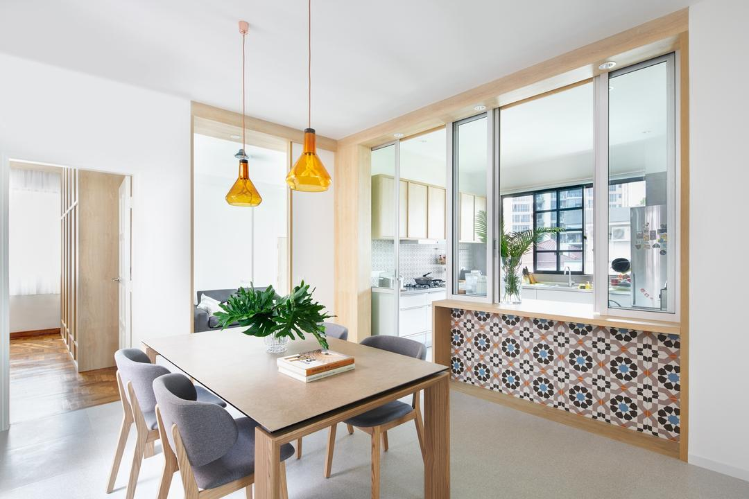 Pin Mansions, PROVOLK ARCHITECTS, Scandinavian, Dining Room, Condo, Pendant Lights, Graphic Tiles