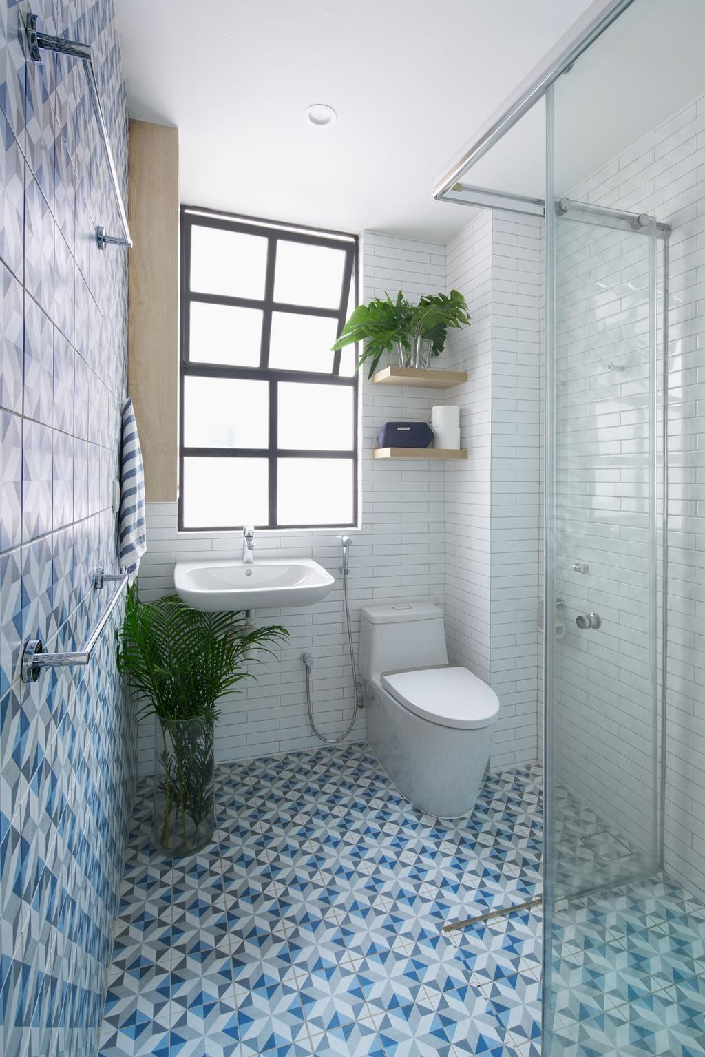 Scandinavian, Condo, Bathroom, Pin Mansions, Architect, PROVOLK ARCHITECTS, Graphic Tiles, Patterned Tiles