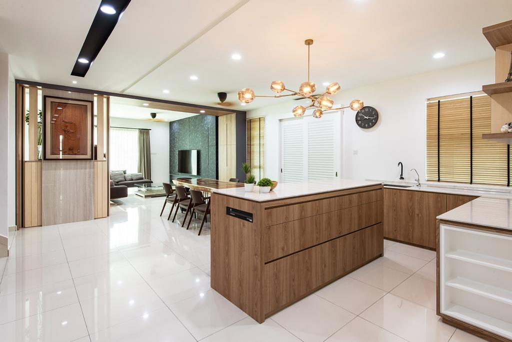 Contemporary, Landed, Kitchen, Springfields Residence, Interior Designer, Pocket Square, Kitchen Island, White And Wood, Pendant Lights