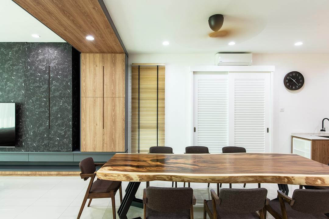 Springfields Residence, Pocket Square, Contemporary, Dining Room, Landed, Wood, Suar, Wooden Dining Table, Open Concept