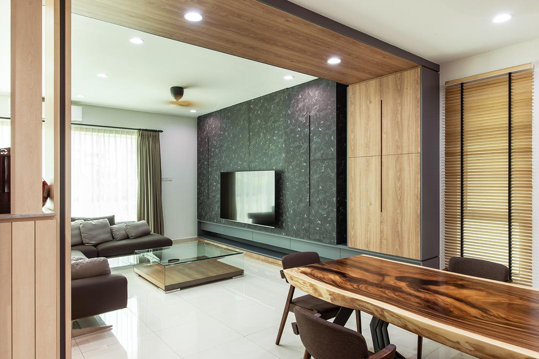 Springfields Residence, Pocket Square, Contemporary, Living Room, Landed, Partition, Overhead Partition, Open Concept, Open Layout