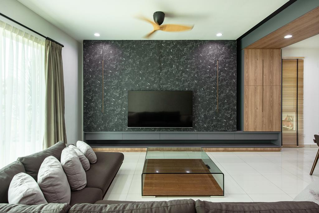 Contemporary, Landed, Living Room, Springfields Residence, Interior Designer, Pocket Square, Feature Wall