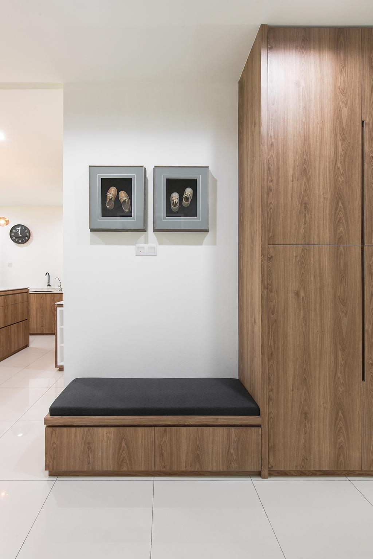 Contemporary, Landed, Living Room, Springfields Residence, Interior Designer, Pocket Square, Doorway, Entrance, Hallway, Settee, Shoe Storage, Storage