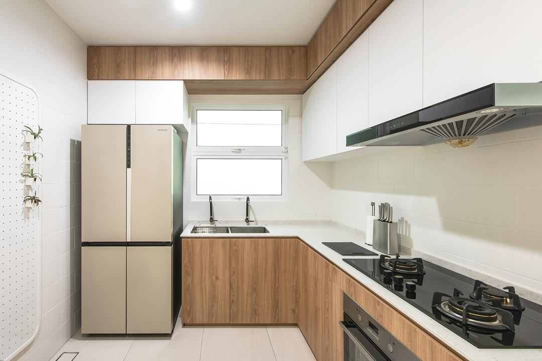Springfields Residence, Pocket Square, Contemporary, Kitchen, Landed, White And Wood, Simple, L Shaped Kitchen