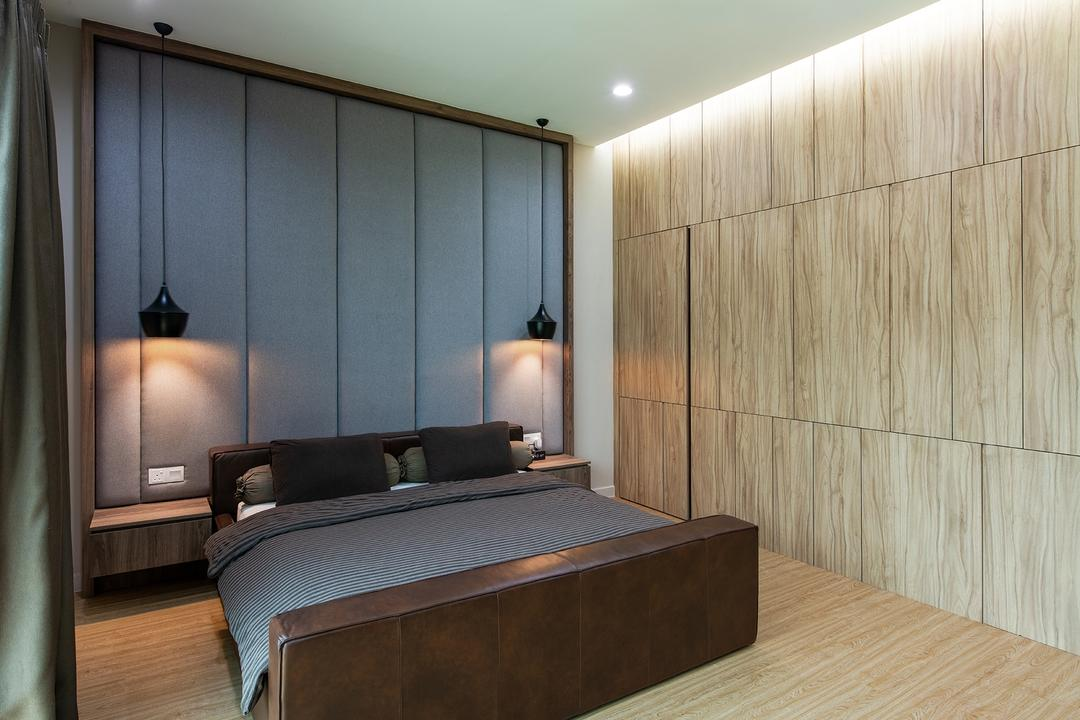 Springfields Residence, Pocket Square, Contemporary, Bedroom, Landed, Feature Wall, Warm And Cosy, Cosy