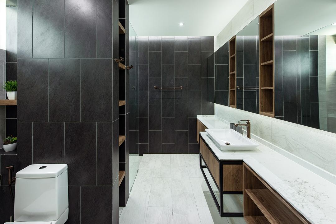 Springfields Residence, Pocket Square, Contemporary, Bathroom, Landed, Monochrome, Dark Colours, Black Tiles