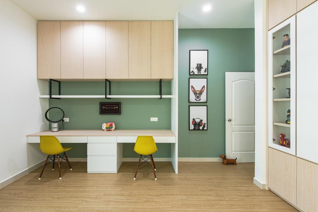 Contemporary, Landed, Study, Springfields Residence, Interior Designer, Pocket Square, Sage, Green Wall, Workspace, Office