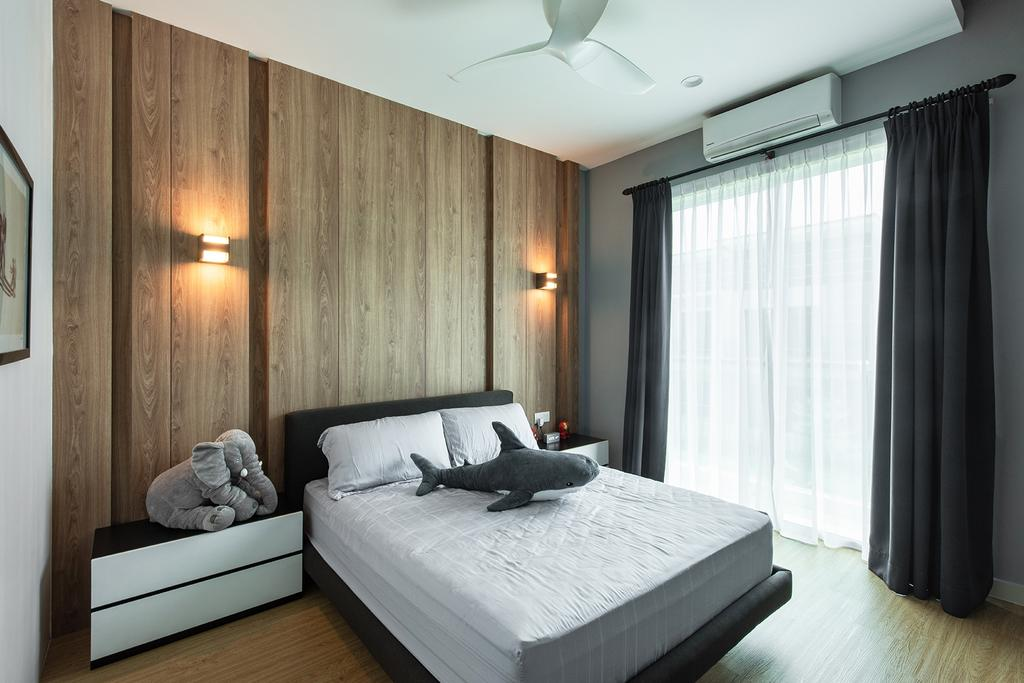 Contemporary, Landed, Bedroom, Springfields Residence, Interior Designer, Pocket Square, Feature Wall, Wall Sconce, Wall Lamp