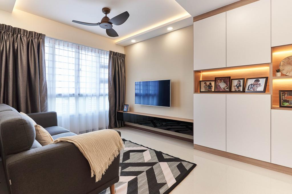 Contemporary, HDB, Living Room, Telok Blangah Street 31, Interior Designer, ELPIS Interior Design
