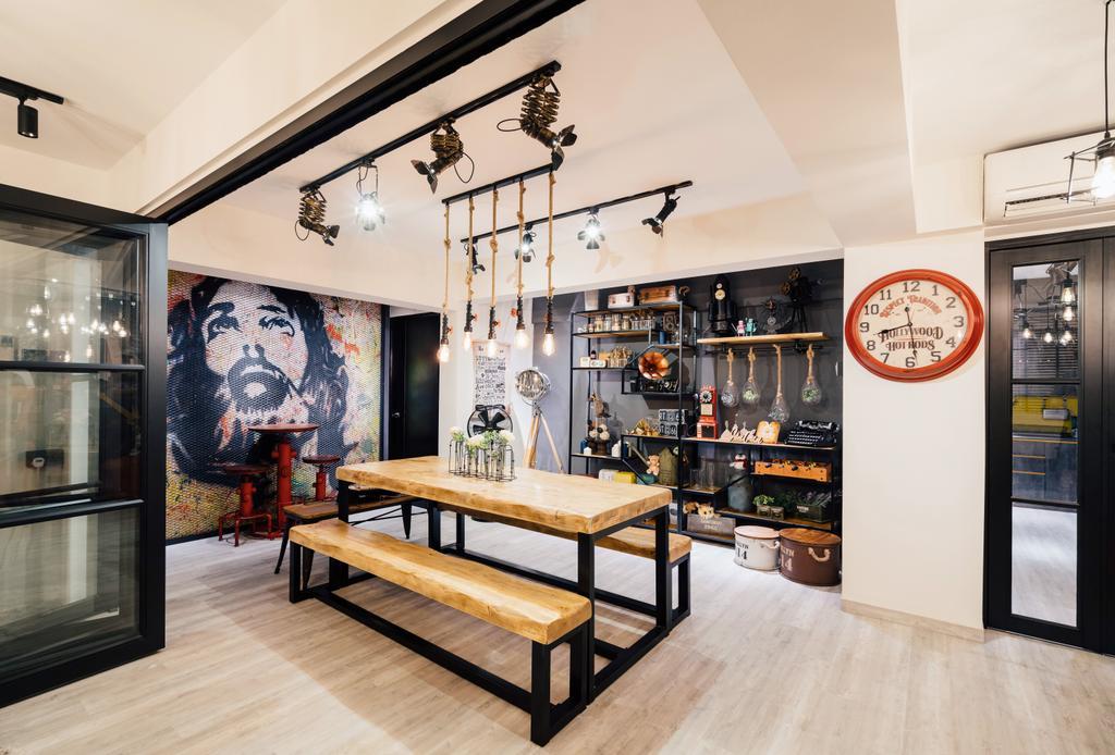 Contemporary, HDB, Dining Room, Bedok South Road, Interior Designer, Fineline Design, Industrial