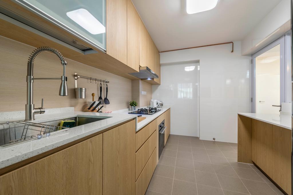 Minimalistic, HDB, Kitchen, Canberra Street, Interior Designer, Silvotino Design