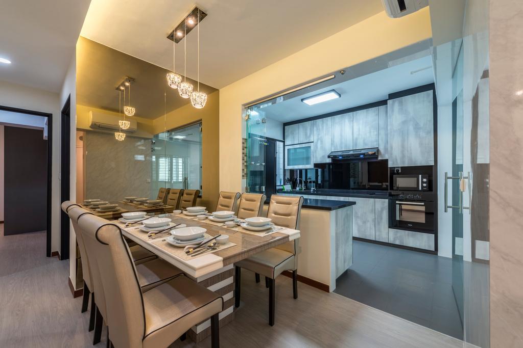 Contemporary, HDB, Dining Room, Fernvale Link, Interior Designer, Silvotino Design