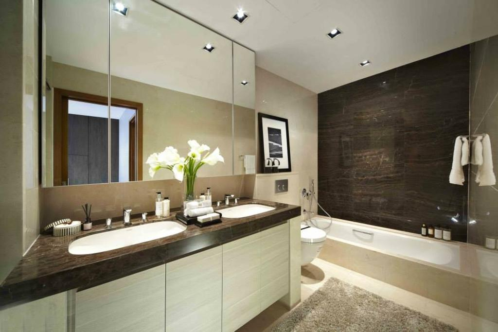Contemporary, Landed, Bathroom, Luxus Hill, Interior Designer, Elements ID, Bathtub, Bath Tub
